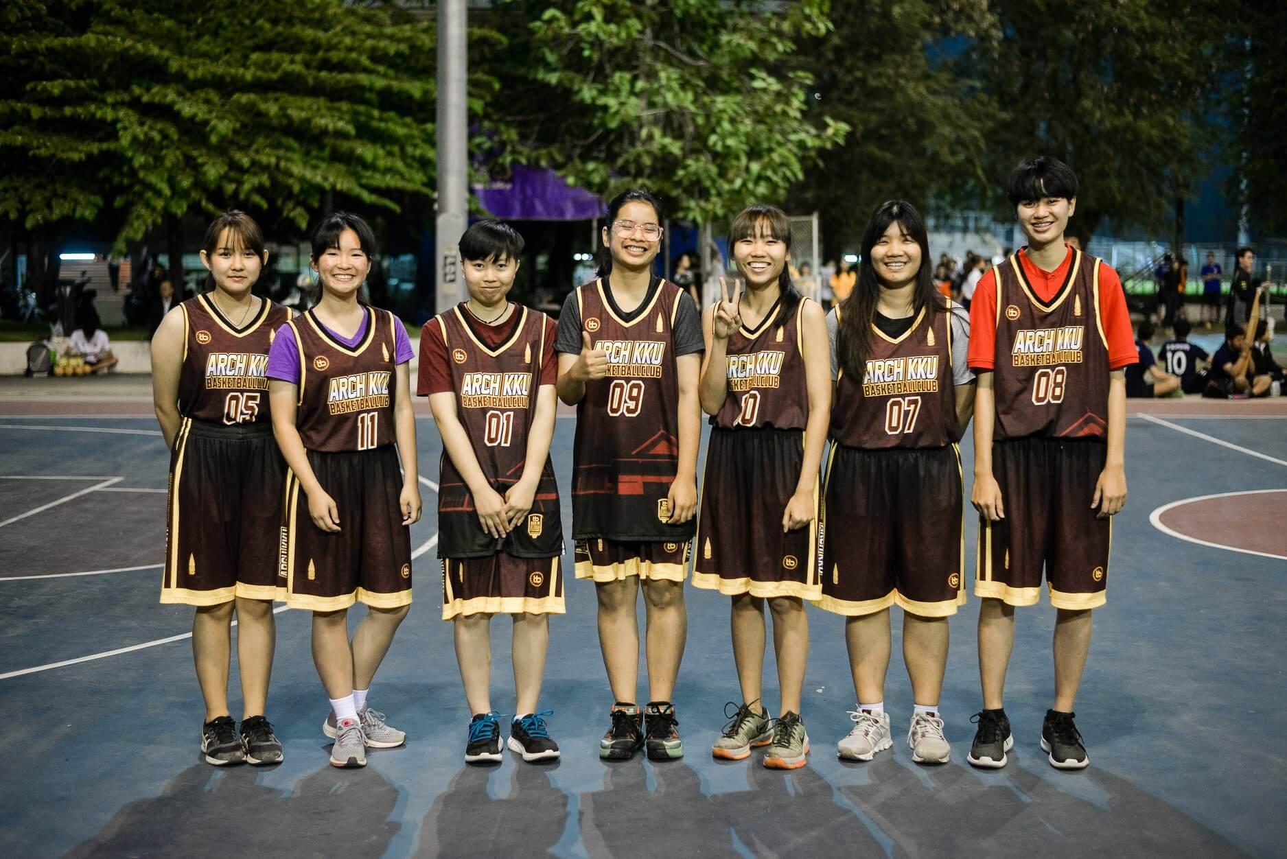 ตัดชุดบาส เสื้อบาสพิมพ์ลาย เสื้อบาสเกตบอล nba jersey ผลิตเสื้อกีฬา รีวิวลูกค้า เสื้อวอลเล่ย์ รีวิวเสื้อบาส ARCH KKU หญิง คณะสถาปัตยกรรมศาสตร์ มหาวิทยาลัยขอนแก่น