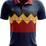 เสื้อโปโลพิมพ์ลาย น้ำเงินเข้ม Triple Double